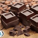 Close up of dark chocolate squares